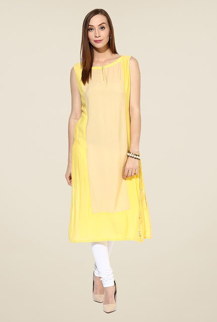 Shree Yellow & Beige Rayon Solid Kurta
