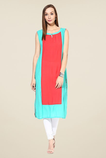 Shree Turquoise & Red Rayon Solid Kurta