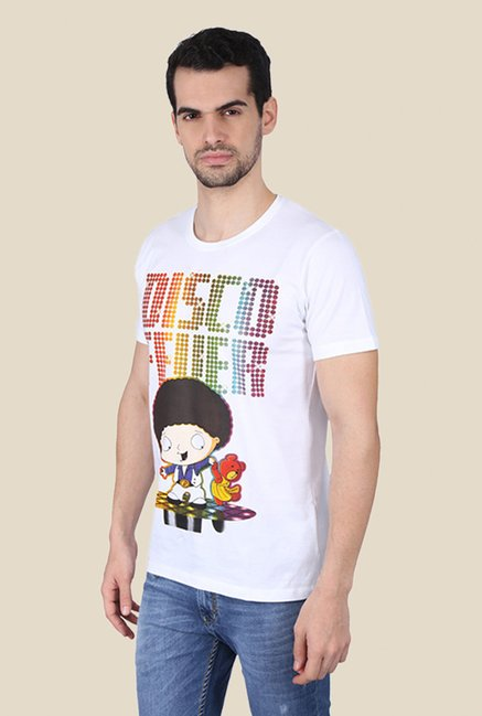 Family Guy Stewie At The Club White Graphic T-shirt