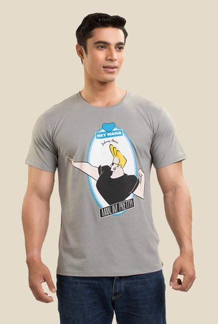Johnny Bravo The Mama Boy Dark Grey Graphic T-shirt