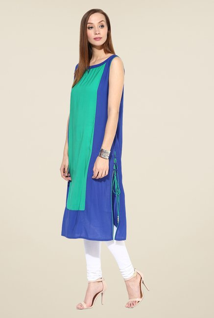 Shree Blue & Turquoise Rayon Solid Kurta