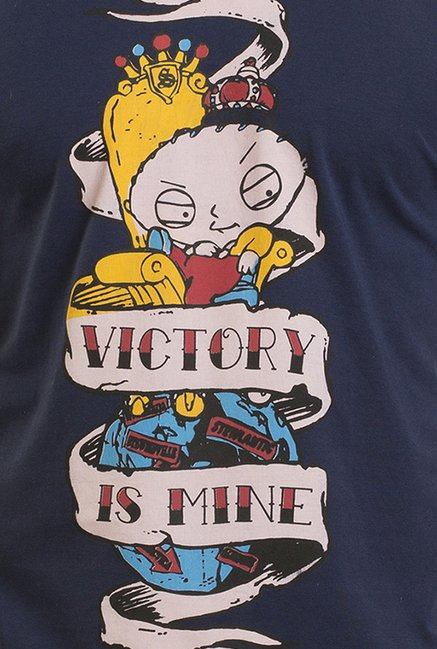 Family Guy Stewie The Victorious Navy Graphic T-shirt