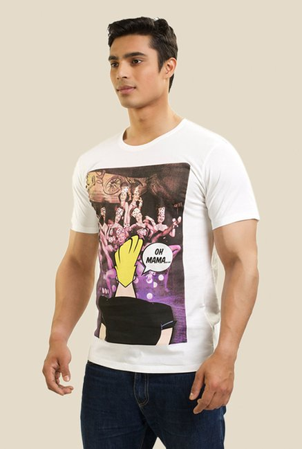 Johnny Bravo The Heartthrob White Graphic T-shirt