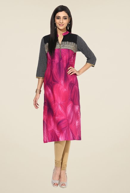 Shree Pink Cotton Printed Kurta