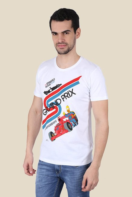 Simpsons Springfield F1 White Graphic T-shirt