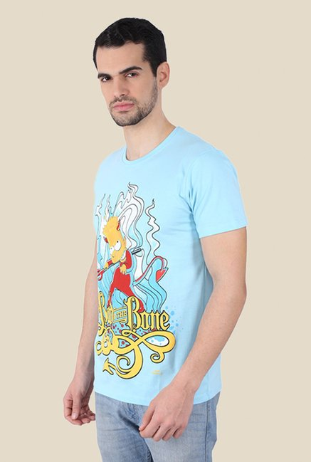 Simpsons Bad To The Bone Light Blue Graphic T-shirt