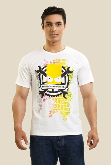 Simpsons Springfield Riding White Graphic T-shirt