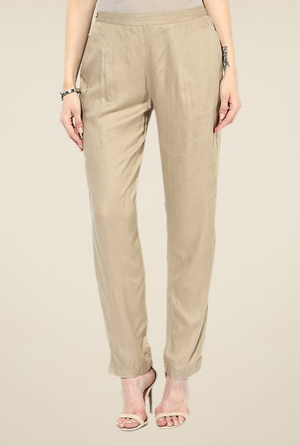 Shree Beige Rayon Trousers