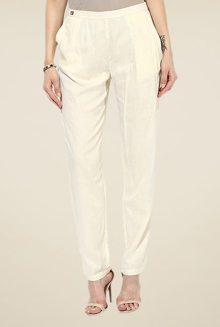 Shree Off White Rayon Trousers
