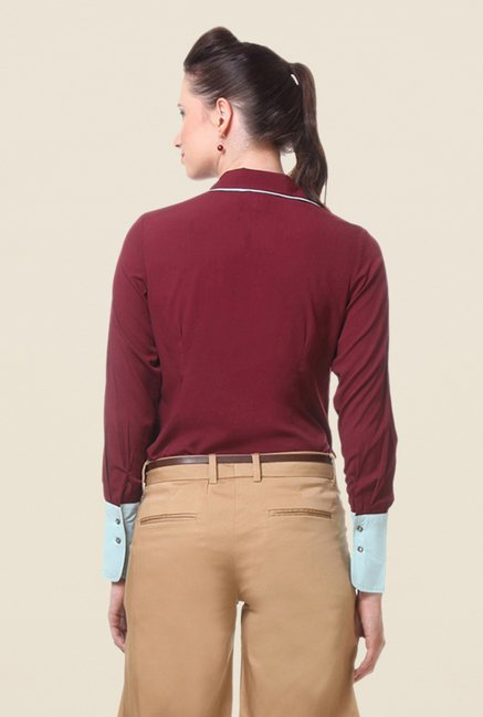 Kaaryah Wine Solid Shirt