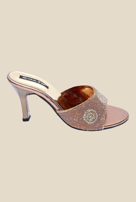 Global Step Bronze Spool Heeled Sandals