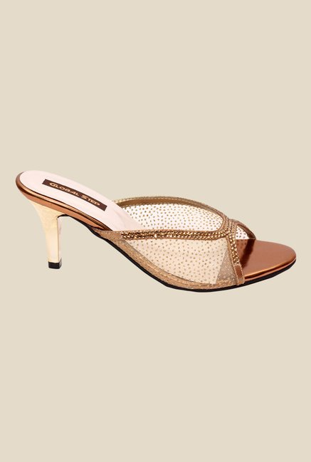Global Step Copper Stiletto Heeled Sandals