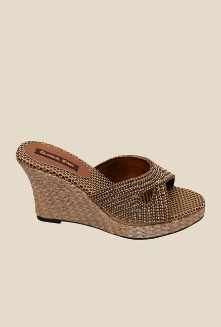 Global Step Bronze Wedge Heeled Sandals