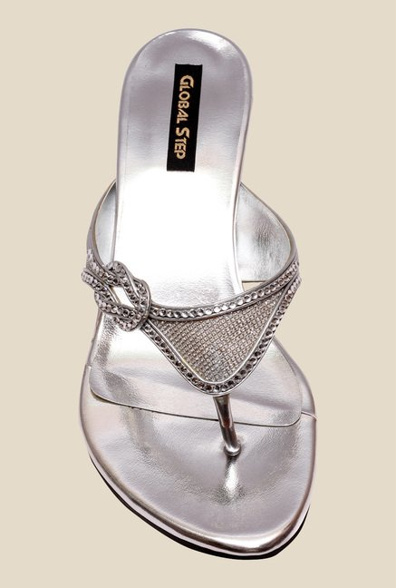 Global Step Silver Thong Sandals