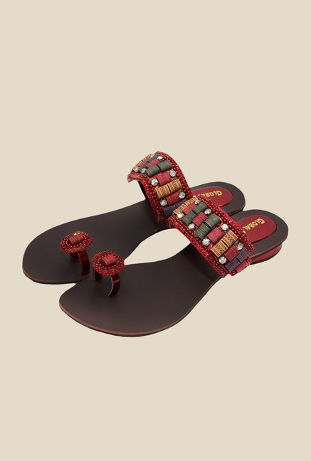 Global Step Maroon & Golden Toe Ring Sandals