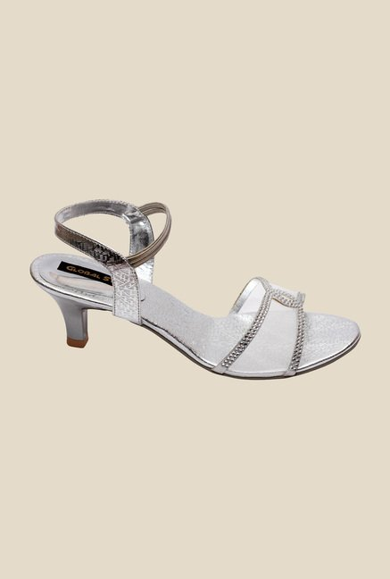 Global Step Silver Sling Back Sandals