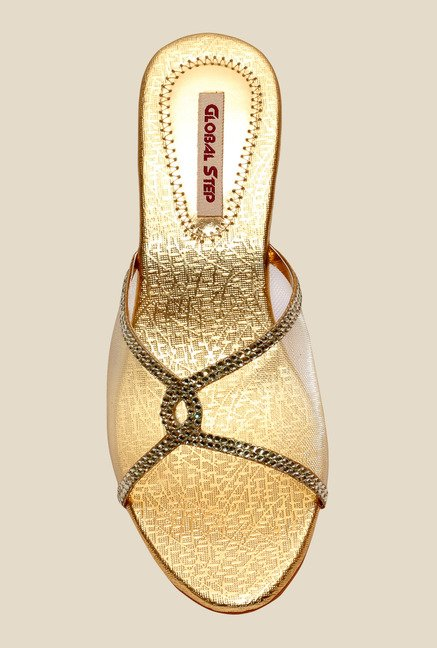 Global Step Golden Ethnic Sandals