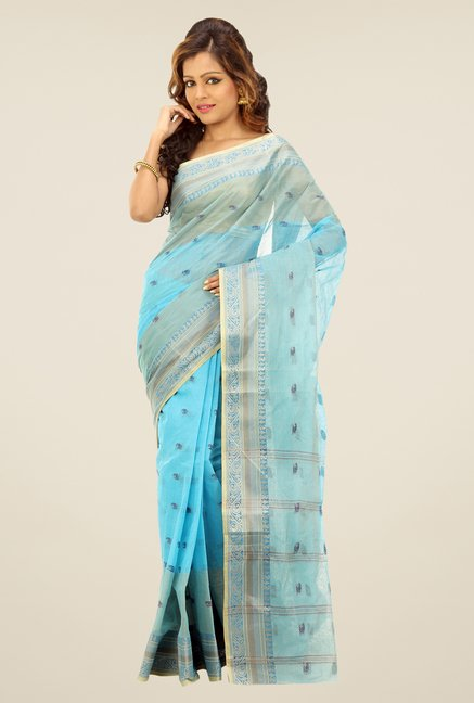 Bengal Handloom Turquoise Printed Cotton Saree