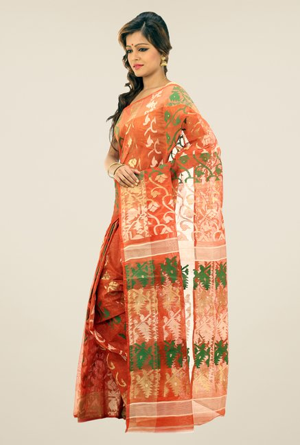 Bengal Handloom Rust Printed Silk Saree