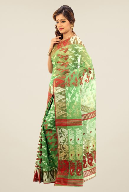 Bengal Handloom Green Printed Silk Saree