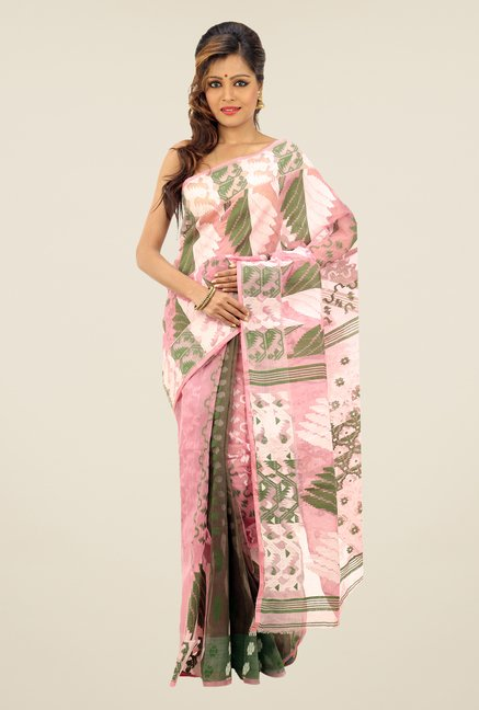 Bengal Handloom Pink & Green Printed Silk Saree
