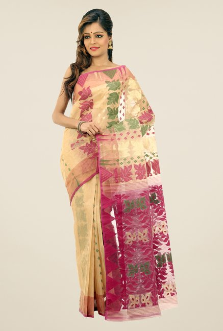 Bengal Handloom Beige & Purple Printed Saree