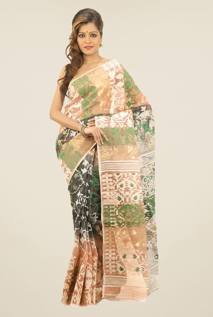 Bengal Handloom Beige & Black Printed Silk Saree