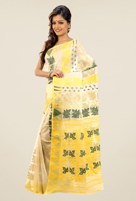 Bengal Handloom Beige & Yellow Printed Silk Saree