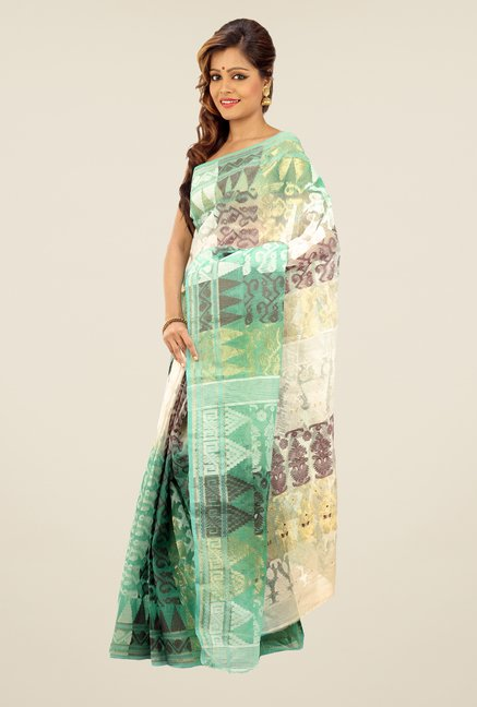 Bengal Handloom Green & Beige Printed Silk Saree