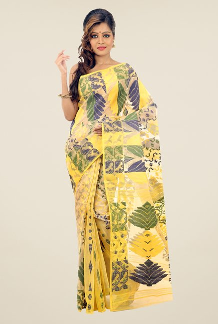 Bengal Handloom Yellow & Beige Printed Silk Saree