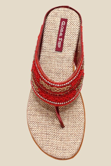 Global Step Red Wedge Heeled Thong Sandals