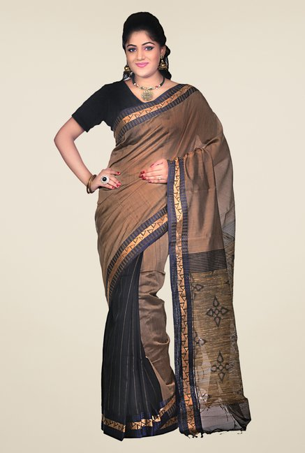 Bengal Handloom Brown Cotton Silk Printed Saree