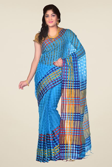 Bengal Handloom Blue Cotton Silk Checked Saree