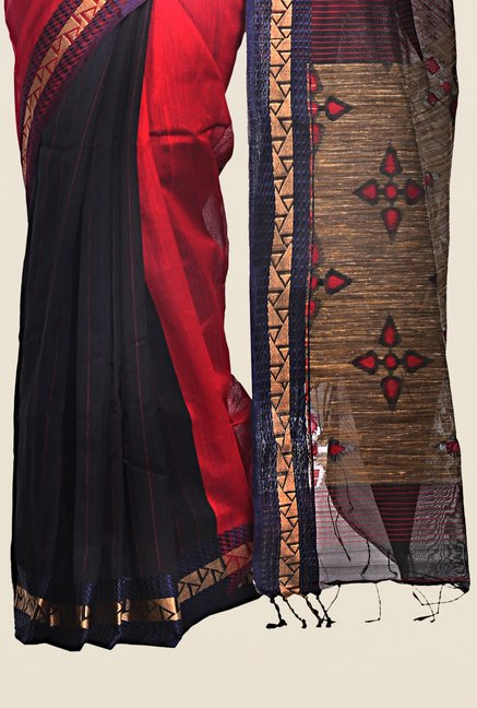 Bengal Handloom Red & Black Cotton Silk Printed Saree