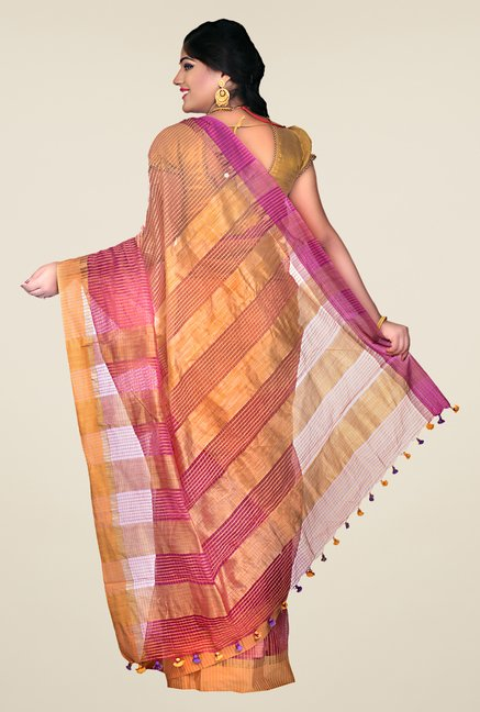 Bengal Handloom Mustard & Maroon Cotton Silk Striped Saree