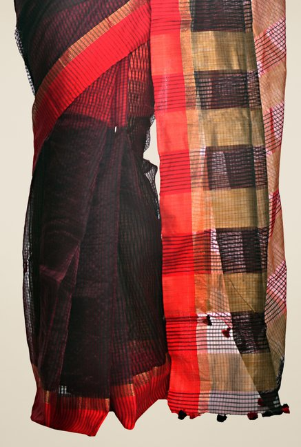 Bengal Handloom Black & Red Cotton Silk Striped Saree