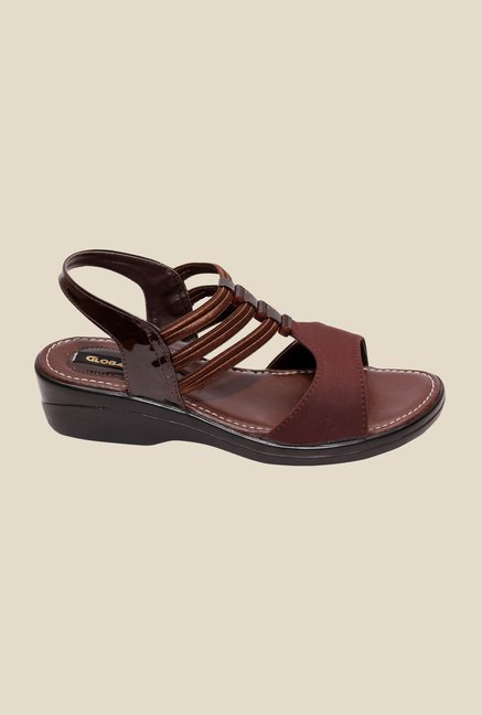 Global Step Brown Sling Back Wedges