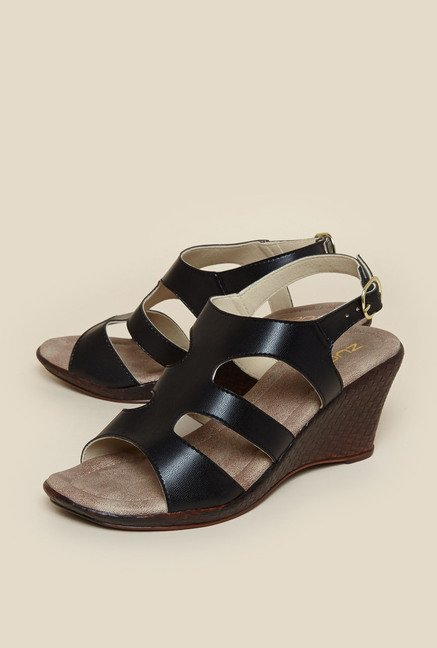 Zudio Black Wedge Sandals