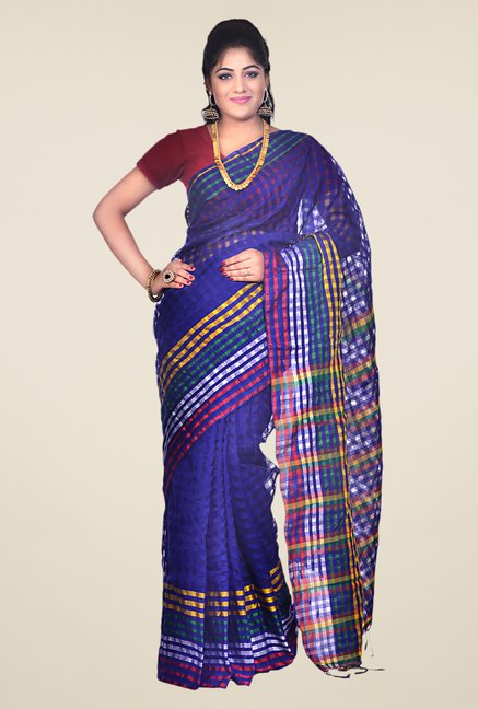 Bengal Handloom Navy Cotton Silk Checked Saree