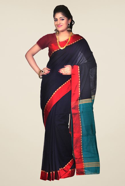 Bengal Handloom Navy & Turquoise Striped Silk Saree
