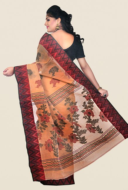 Bengal Handloom Orange Cotton Saree
