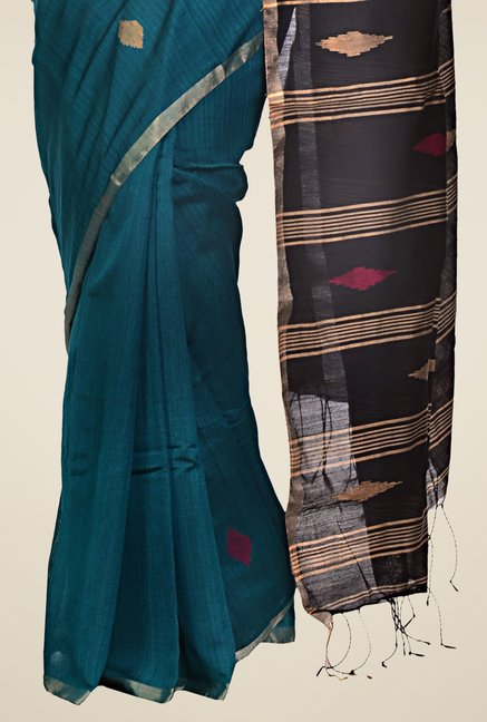 Bengal Handloom Teal Striped Silk Saree