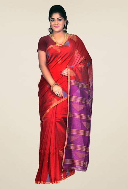 Bengal Handloom Red & Purple Striped Silk Saree