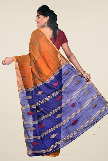 Bengal Handloom Mustard & Blue Striped Silk Saree