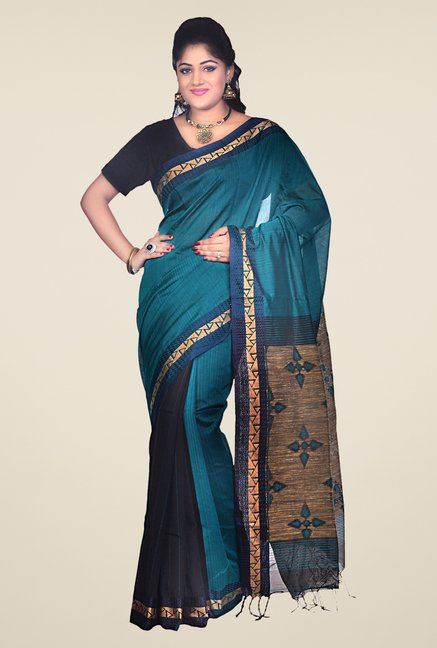 Bengal Handloom Teal Cotton Silk Printed Saree