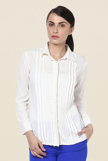 Kaaryah Off White Solid Shirt