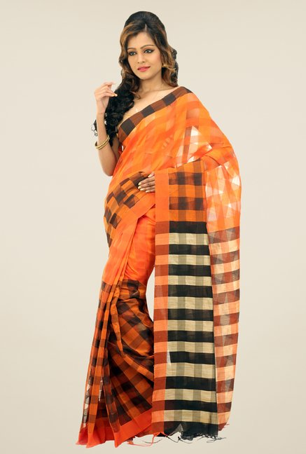 Bengal Handloom Orange & Black Cotton Silk Checked Saree