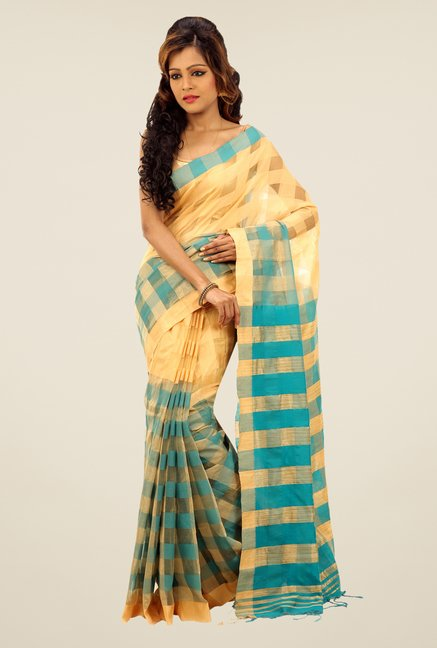 Bengal Handloom Beige & Turquoise Cotton Silk Checked Saree