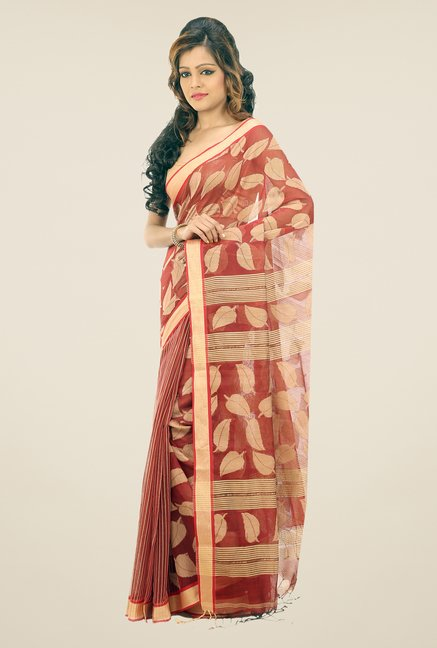 Bengal Handloom Rust & Beige Chora Pata Cotton Silk Saree