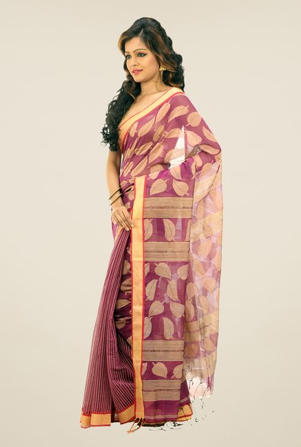 Bengal Handloom Azalea Chora Pata Cotton Silk Saree